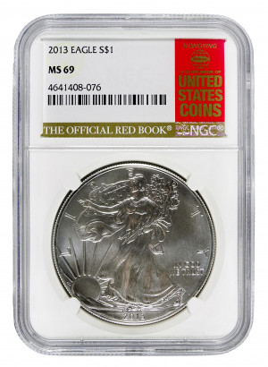 2013 Silver Eagle S$1 with Official Red Book Label - NGC MS 69