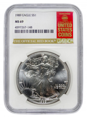 1989 Silver Eagle S$1 with Official Red Book Label - NGC MS 69