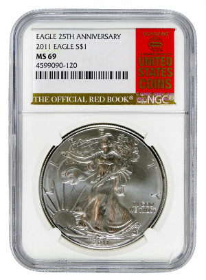 2011 Silver Eagle S$1 with Official Red Book Label - NGC MS 69