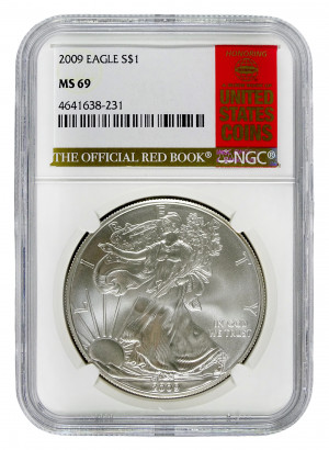 2009 Silver Eagle S$1 with Official Red Book Label - NGC MS 69