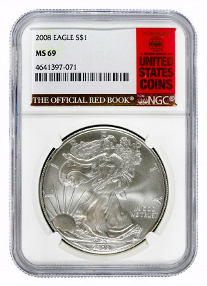 2008 Silver Eagle S$1 with Official Red Book Label - NGC MS 69