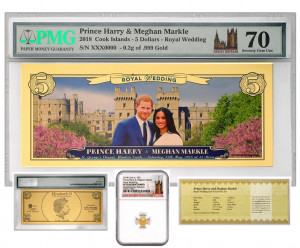 2018 $5 Cook Islands Royal Wedding Coin & Currency Set - Harry and Meghan