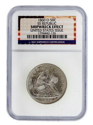 "1860-O Liberty Seated Half-Dollar SS REPUBLIC ""Lost Gold of the Republic"" Shipwreck Set"