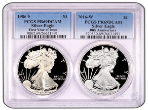 "2016 ""30th Anniversary Special"" Silver Eagle 2-Coin Proof Set with 1st Year of Issue and 2016 30th Anniversary - PCGS PR69DCAM"