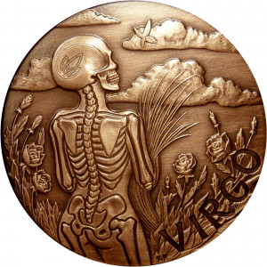 Virgo Zodiac Skull Series Memento Mori Coin - 1 oz Copper Round