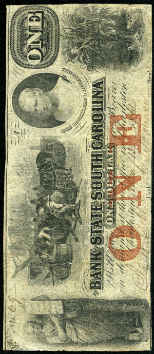 Red 1s 1860's South Carolina Obsolete with Red Overprint - VG-VF