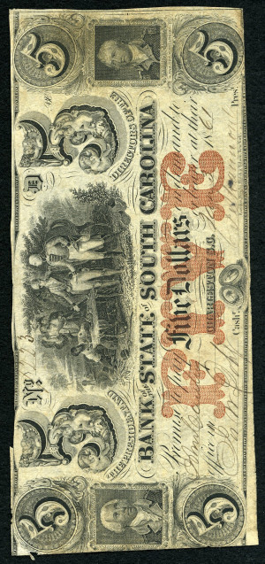 Red 5s 1860's South Carolina Obsolete with Red Overprint - VG-VF